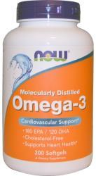 NOW Omega-3 lágyzselatin kapszula - 200db