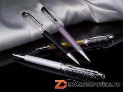Swarovski Made With Swarovski Elements golyóstoll érintővel, felül fehér kristályokkal, 14cm, krémfehér (TSWG023)