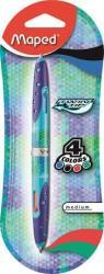 Maped Twin Tip golyóstoll, 0.5mm, kétvégű, kék tolltest - 4 hagyományos szín (IMA229117)