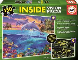 Educa Inside Vision Puzzle - Tengeri állatok 150 db-os sötétben világító puzzle (15899)