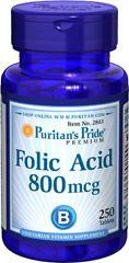 Puritan's Pride Folic Acid 800mg folsav tabletta - 250 db