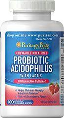 Puritan's Pride Probiotikus acidofilusz rágótabletta - 100db
