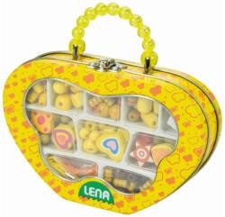 LENA Ékszerkészítő fa gyöngyök sárga dobozban (32116)