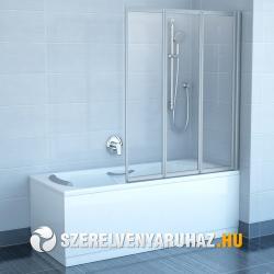 Ravak VS3 130 háromelemes, harmonika rendszerű kádparaván, fehér kerettel - rain műanyag betétlemezzel (795V010041)