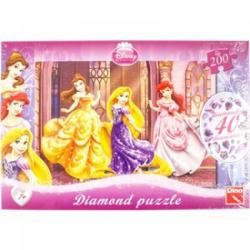 Dino Disney hercegnők Csillogó köves puzzle 200 db-os