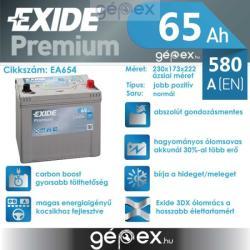 Exide Premium 65Ah 580A Jobb+ Ázsia (EA654)