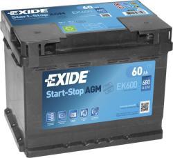 Exide AGM 60Ah 680A Jobb+ (EK600)