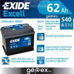Exide Excell EB621 62Ah 540A Bal+ (EB621)