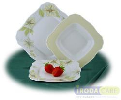 ROTBERG Salátás tál, porcelán, négyszögletes, 23 cm, fehér, zöldvirágos mintával