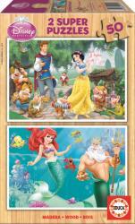 Educa Disney Ariel és Hófehérke 2x50 db-os fa puzzle (15592)