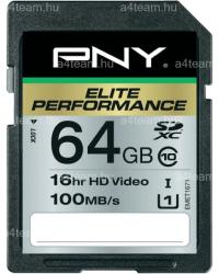 PNY Elite Performance SDXC 64GB UHS-I Class 10 SD64G10ELIPER-EF
