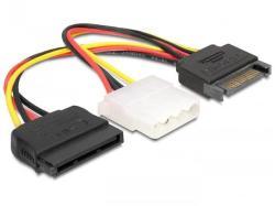 Delock SATA 15pin-Molex 4pin + SATA 15pin Converter 65235