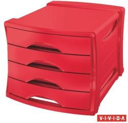 Esselte Europost Vivida Irattároló 4 fiókos műanyag piros (623960)