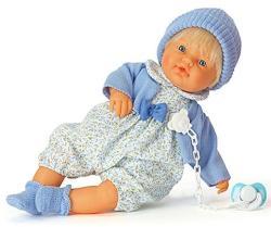 Falca Toys Síró fiú csecsemő baba cumival - 38 cm