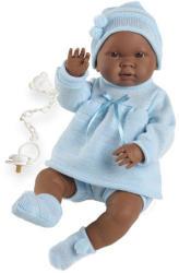 Llorens Csecsemő baba kék ruhában néger - 45 cm