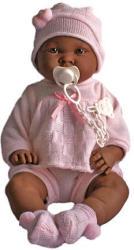 Llorens Néger csecsemő baba rózsaszín ruhában - 45 cm