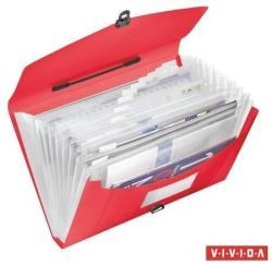 Esselte Vivida Harmonika táska 12 rekeszes A4 PP piros (624023)