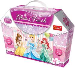 Trefl Glam Puzzle - Disney hercegnők 50 db-os csillámos puzzle (14802)