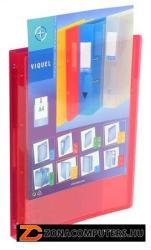 Viquel Propyglass Gyűrűs dosszié panorámás 4 gyűrű 25 mm A4 PP piros (IV095685)