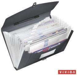 Esselte Vivida Harmonika táska 12 rekeszes A4 PP fekete (624024)