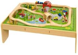 Bigjigs Toys Fa vonat szett asztallal BJT040