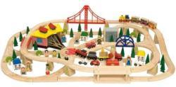 Bigjigs Toys Fa vasút szett 130 darabos BJT017