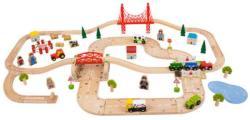 Bigjigs Toys Vasúti pálya és úttest fából BJT021