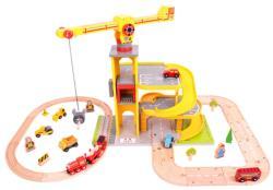 Bigjigs Toys Fa vasút készlet daruval parkolóval BJT028