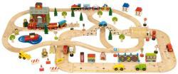 Bigjigs Toys Fa vasút várossal utakkal BJR015