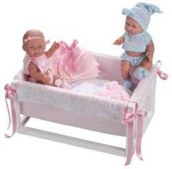 Llorens Gemelos 26 cm-es iker babák kisággyal