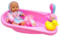 UNIKATOY Csecsemő baba fürdőkáddal, fürdető szettel