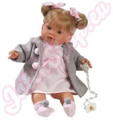 Llorens Roberta síró baba szürke kabátban - 42 cm