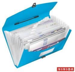 Esselte Vivida harmonika irattáska 12 rekeszes műanyag kék (624022)