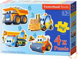 Castorland Mókás munkagépek 3, 4, 6 és 9 db-os sziluett puzzle