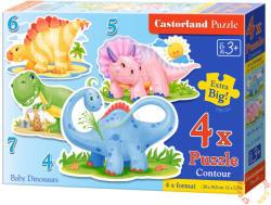 Castorland Bébi dinoszauruszok 4, 5, 6 és 7 db-os sziluett puzzle