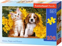Castorland Cica, kutya és virágok 108 db-os (B-010134)