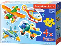 Castorland Mókás repülőgépek 3, 4, 6, és 9 db-os sziluett puzzle