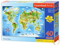 Castorland Maxi Puzzle - Világtérkép 40 db-os (B-040117)