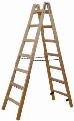 KRAUSE Stabilo két oldalon járható fa állólétra 2x7 fokos, profi (170095)