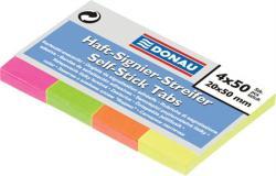 Donau Papír jelölőcímke 4x50 lap 20x50 mm vegyes szín (D7576)