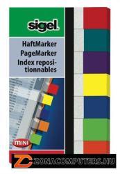 Sigel Clear Mini műanyag jelölőcímke 7x40 lap 20x50 mm vegyes szín (SIHN677)