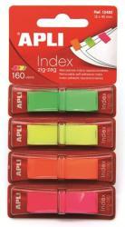 Apli Műanyag jelölőcímke 4x40 lap 12x45 mm 4 fluoreszkáló szín (LCA12482)