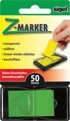 Sigel Z műanyag jelölőcímke 50 lap 25x45 mm zöld (SIHN482)