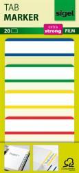 Sigel Megerősített fehér szélű jelölőcímke 50x38 mm 4x5 db vegyes színek (SHN202)