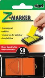 Sigel Z műanyag jelölőcímke 50 lap 25x45 mm narancs (SIHN483)