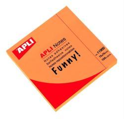 Apli Öntapadó jegyzettömb 75x75 mm 100 lap neon narancs (LNP11900)