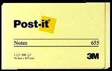 3M Öntapadó jegyzettömb 76x127 mm 100 lap sárga (LP65516S)