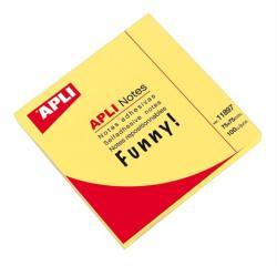Apli Öntapadó jegyzettömb 75x75 mm 100 lap neon sárga (LNP11897)