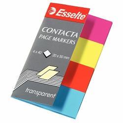 Esselte Contacta műanyag jelölőcímke 4x40 lap 20x50mm vegyes neon szín (E83017)