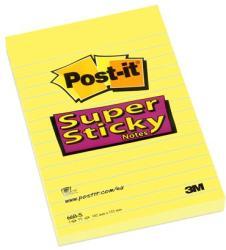 3M Super Sticky vonalas öntapadó jegyzettömb 102x152 mm 75 lap sárga (LP660S)